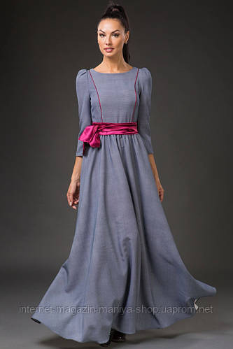 Платье женское с поясом в пол