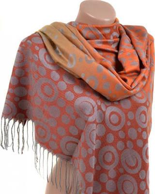 Стильный женский кашемировый палантин размером 70*180 см Подиум 32067-1 (оранжевый с серым)