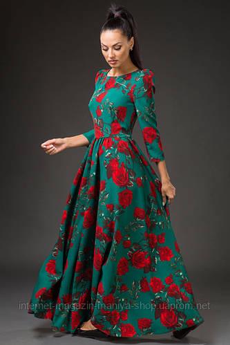 Платье женское с поясом в пол цветочный принт