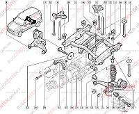 Кронштейн крепления подрамника задней подвески левый 4X4 (фиксатор) Renault Kangoo (1997-2007) 8200041482