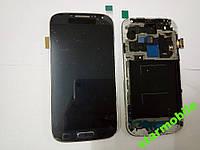 Дисплей для мобильного телефона Samsung i9500, Galaxy S4, синий, с тачскрином, с рамой, тайваньская копия