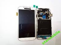Дисплей для мобильного телефона Samsung i9500, Galaxy S4, белый, с тачскрином, с рамой, тайваньская копия