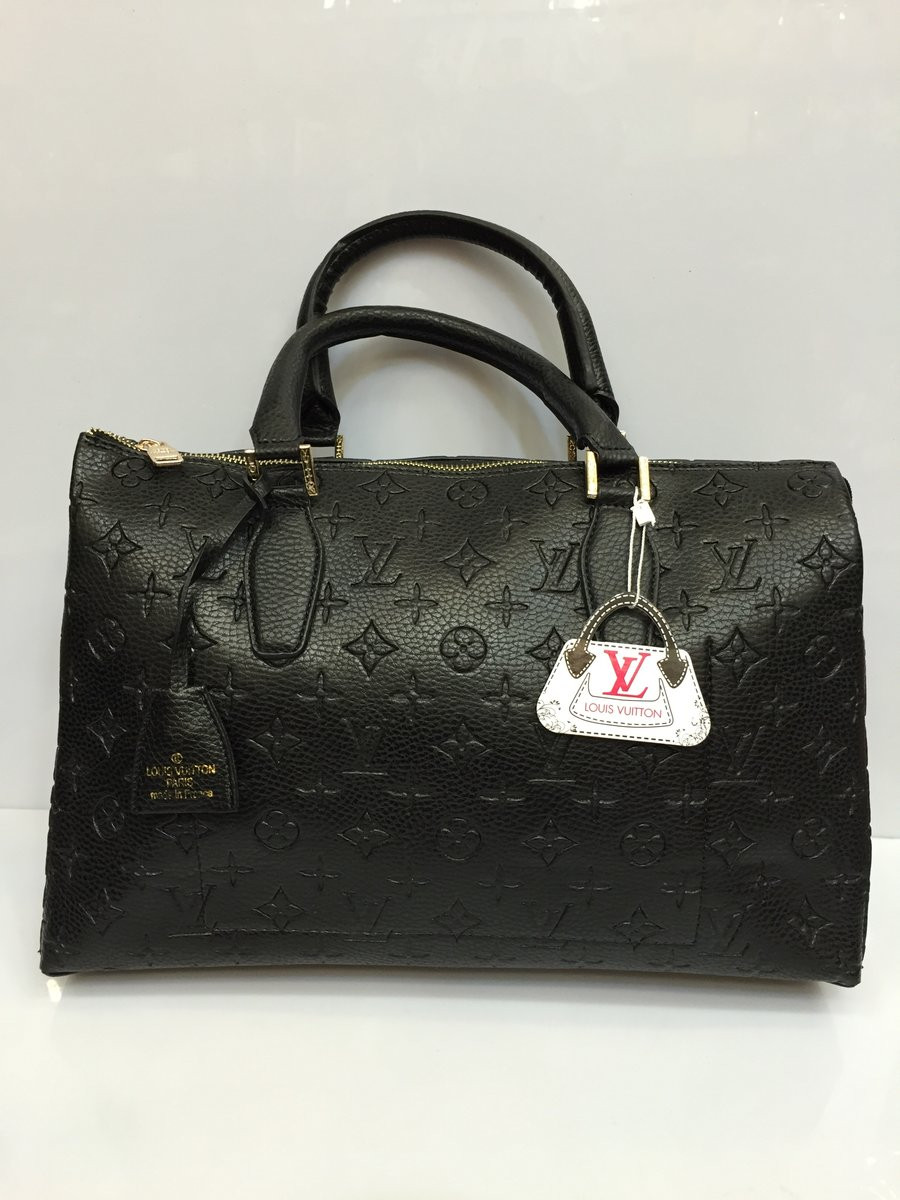 2707921c9002 Женская сумка-саквояж Louis Vuitton с тиснением, Луи Витон черная ...