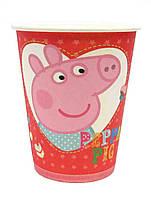 Стаканы  бумажные одноразовые Свинка Пеппа посуда на День Рождение (красные)