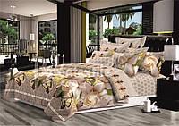 Комплект постельного белья  семейный снежными цветами и бабочкой