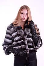 Кожушок з шиншили з відкладним коміром chinchilla fur coat fur-coat with flexible pop up collar