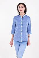 Оригинальная вышитая блуза из льна прямого кроя