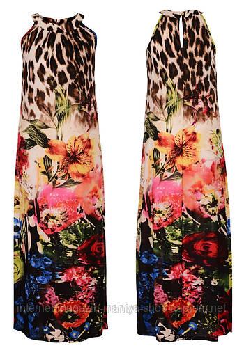 Платье женское в пол леопард и цветы
