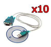 10 шт Переходник адаптер кабель USB RS232 DB9 COM