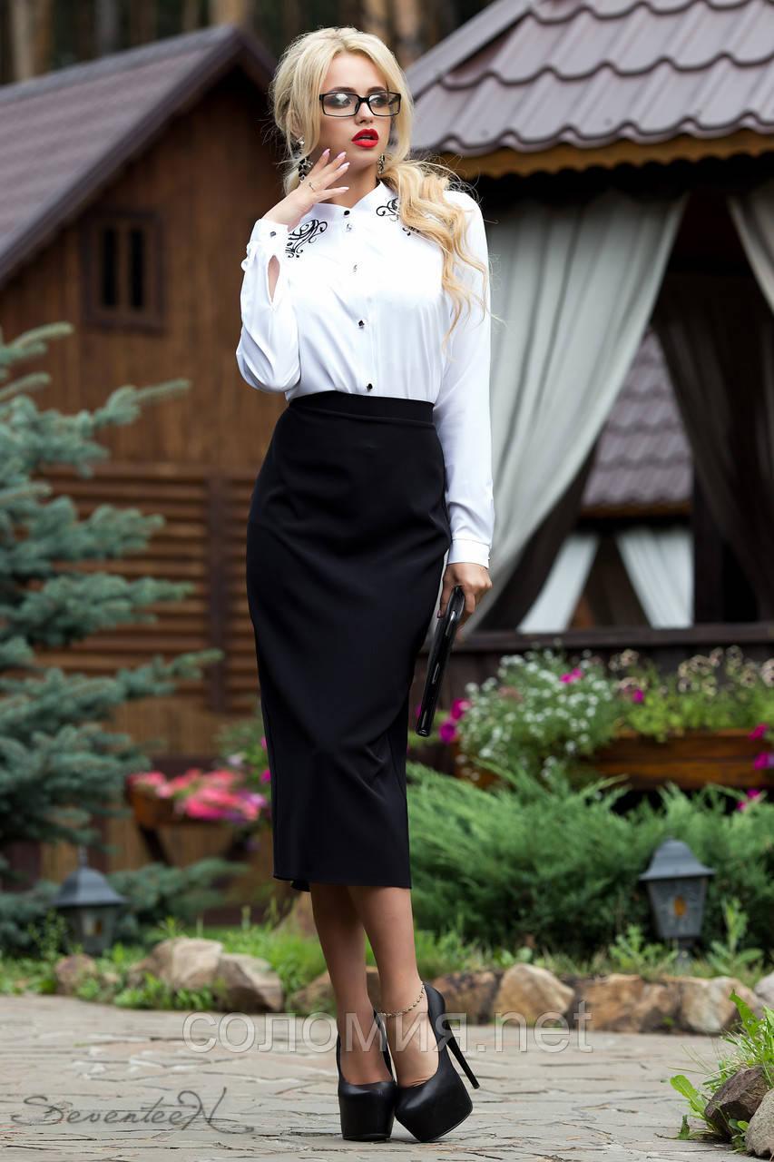 Строгая деловая юбка карандаш черного цвета