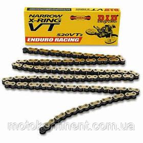 Мото цепь  520 DID 520VT2 112 черно - золотая  в компл. замок цепи FJ сальники типа X-Ring