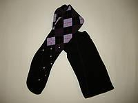 Детские колготки с махрой в ромбы черного цвета, фото 1