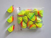 """Разборная груз-головка """"Малек"""",(упак 25шт) цвет:Желто-зеленый со светонакопителем вес3г"""