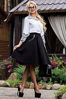 Деловая юбка-солнце с узким поясом черного цвета