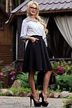 Деловая юбка-солнце с узким поясом черного цвета, фото 2