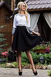 Деловая юбка-солнце с узким поясом черного цвета, фото 3