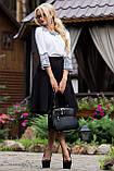 Деловая юбка-солнце с узким поясом черного цвета, фото 4