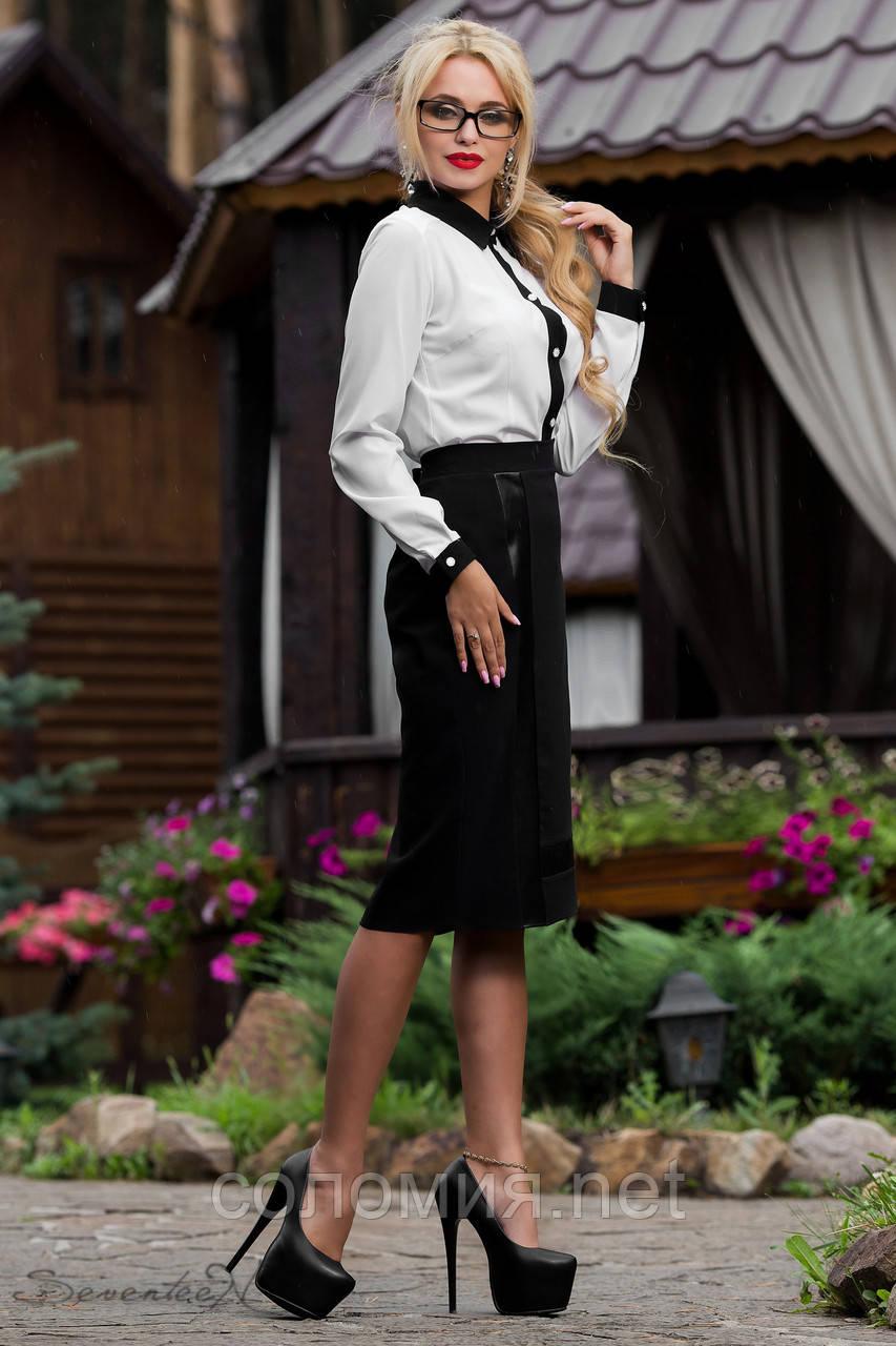 Классическая элегантная деловая юбка черная