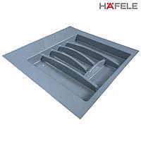 Лоток для столовых приборов серый Hafele (Германия) в ящик 500-550 мм. 503х498, фото 1
