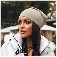 Женская шапка из трикотажа серого цвета