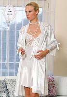 Шелковый комплект халат и ночная сорочка (пеньюар) Angel Story 8230