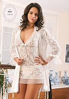 Шелковый комплект халат и ночная сорочка (пеньюар) Angel Story 8465