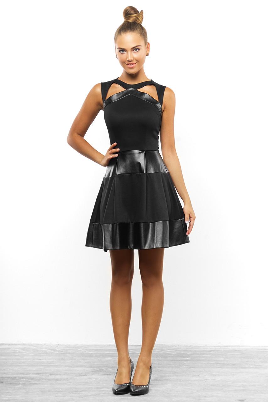 Стильное клешное платье с кожаными вставками от Lusien V7-0815, фото 1