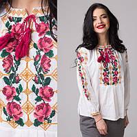 Шикарная сорочка вышиванка женская из льна с розами вышитые крестиком