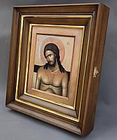 Простой ровный киот для иконы, с внутренней деревянной рамой и золочёными штапиками., фото 2