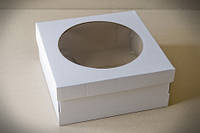 Коробка для тортов, чизкейков, пирогов с прозрачным окном, 250х250х110 мм, белая, фото 1