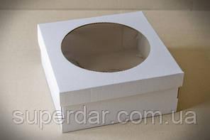 Коробка для тортів, чізкейків, пирогів з прозорим вікном, 250х250х110 мм, біла