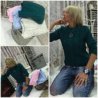 Женский свитер короткий с косами изумрудный 1508/3/04 ЕМ