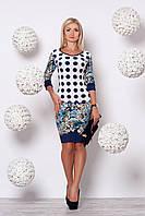Стильное женское платье 838 (бирюзовые цветы)