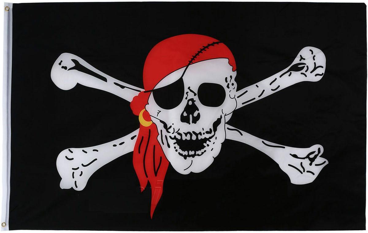 Пиратский флаг «Весёлый Роджер с косынкой» 90х150см