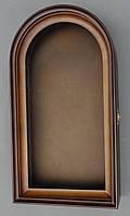 Ровный арочный киот для иконы, с внутренней деревянной рамой.