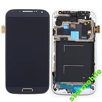 Дисплей для мобильного телефона Samsung i9500, Galaxy S4, синий, с тачскрином, с рамой, ORIG