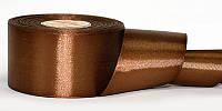 Атласная лента, ширина 5 см, 1 м, цвет коричневый