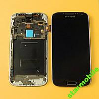 Дисплей для мобильного телефона Samsung i9500, Galaxy S4, черный, с тачскрином, с рамой, ORIG