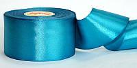 Атласная лента, ширина 5 см, 1 м, цвет голубой