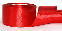 Атласная лента, ширина 5 см, 1 м, цвет красный