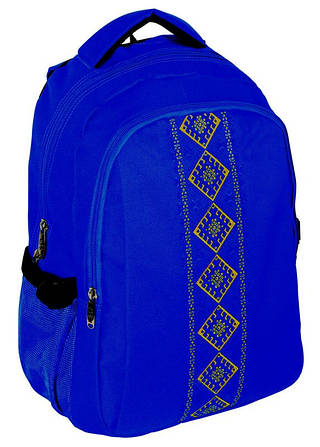 """Удивительный патриотический рюкзак 17"""" для школы """"Vyshyvanka"""" Cool for school CF85678 синий"""