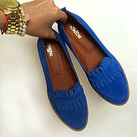 Стильные женские комфортные туфли- лоферы от TroisRois  из натурального турецкого замша 2.5, Без застежки, Натуральная кожа, Голубой