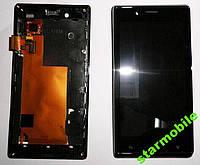 Дисплей Sony ST26i Xperia J + рамка и сенсор черн