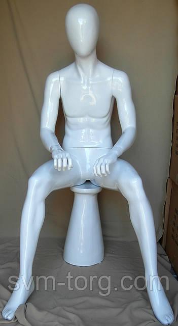 Мужской манекен лакированный белый