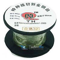 Металлическая струна для рассклеивания дисплейного модуля 100 метров (золотистая 0,08mm)