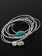 Женские браслеты набором из нескольких браслетов, под серебро 'FJ' украшение №030924