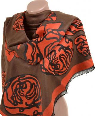 Интересный женский кашемировый палантин размером 70*200 см Подиум 32061 orange (коричневый с оранжевым)
