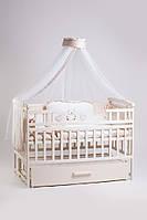 """Акция! Комплект для сна """"Элит"""". Кроватка маятник + ящик + матрас Люкс + постельный набор 8 эл. + держатель слоновая кость"""