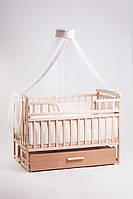 """Акция! Комплект для сна """"Элит"""". Кроватка маятник + ящик + матрас Люкс + постельный набор 8 эл. + держатель светлое дерево"""