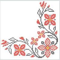Салфетка La Fleur вышитые цветы красный